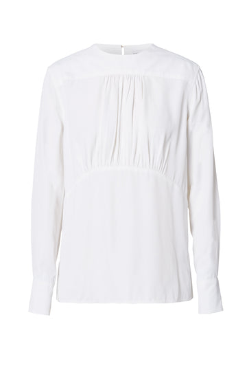 Powdered Viscose Blouse, gathered detail on front, long sleeves, Color White
