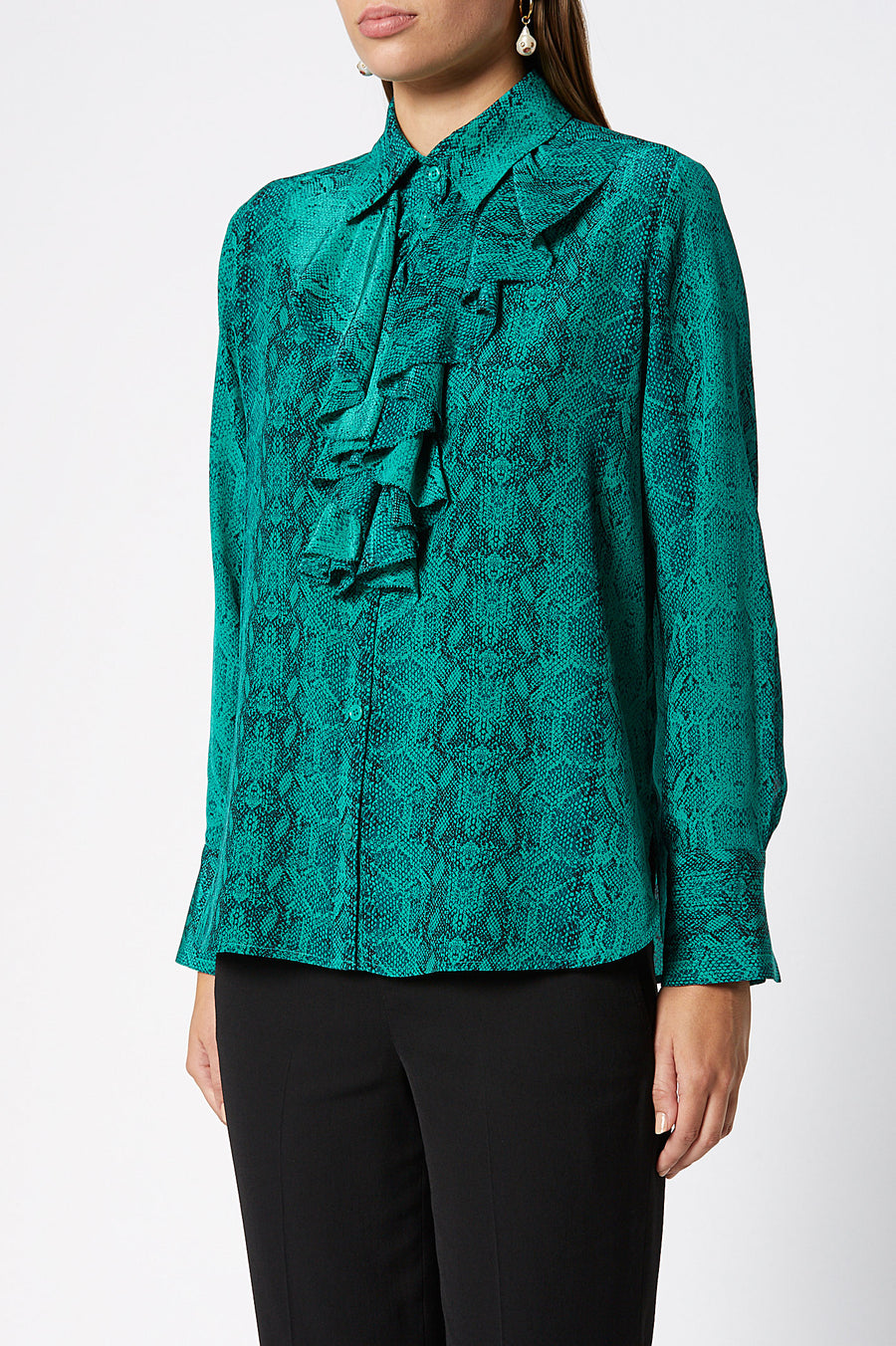 CDC Reptile Print Blouse, long sleeves, collared neck, ruffles through front, long sleeve, color emerald