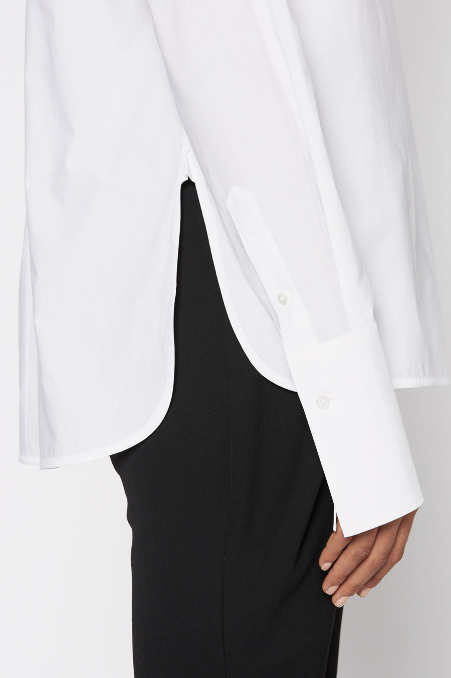 Tailored Cravat Shirt, Structured Shirt, tie neck, Color White