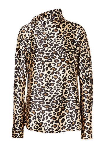 Animal Print Blouse, high tie neck, long sleeve, color black