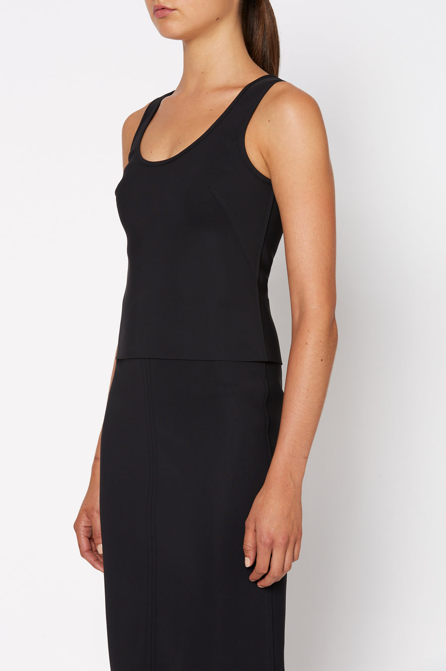 Scuba Tank, scoop neckline, shoulder straps and is intended to fit close to the body, Color Black