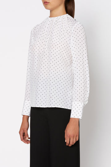 CDC Spot Blouse, full length sleeves with cuffs, a gathered neckline, color White