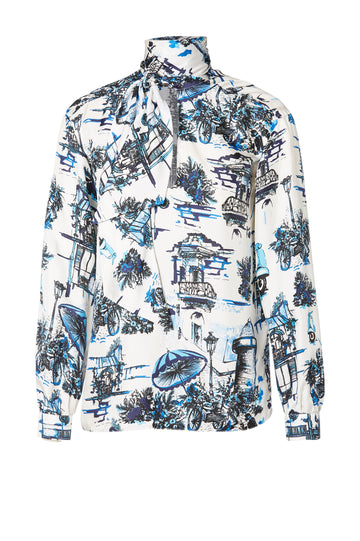 Silk Souvenir Print Blouse, regular fit, v-neckline, cravat that can be styled tied or open, Color Blue