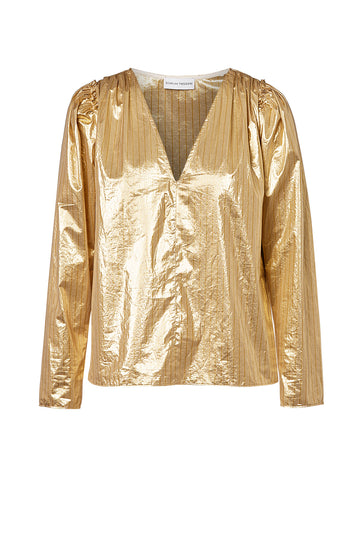 Tinsel Stripe Blouse, relaxed fit, v-neckline, gathered shoulders, puffy sleeves when cuffs worn high on arm, color gold
