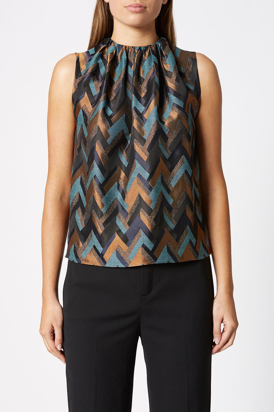 Jacquard Tank is a loosely cut tank with gathered neckline detail