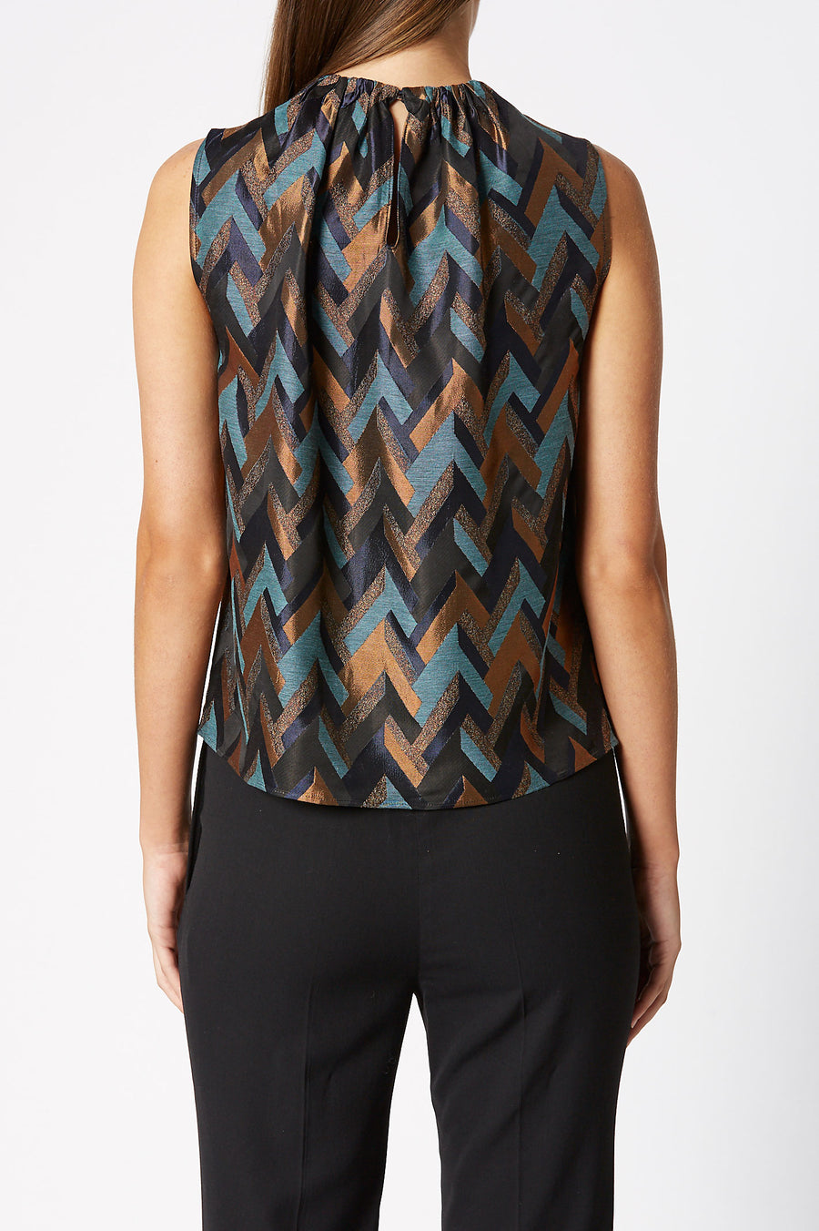 Jacquard Tank is a loosely cut tank with gathered neckline detail, color copper
