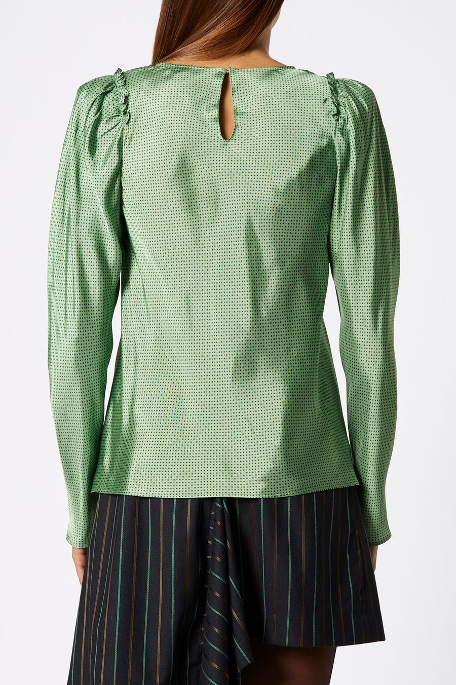Printed Twill Blouse, gathered detail on shoulder, high scoop neckline, color apple