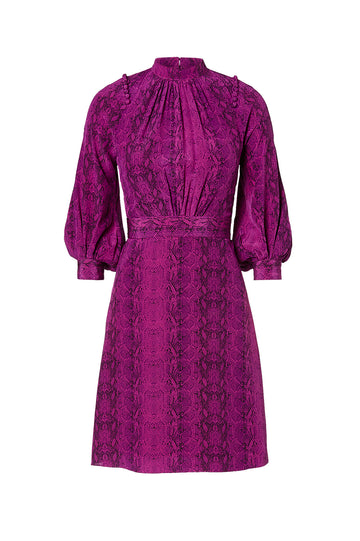 CDC Reptile Button Shoulder Dress, high neck, detailed shoulders, cinches in the waist, 100% Silk, Color Violet