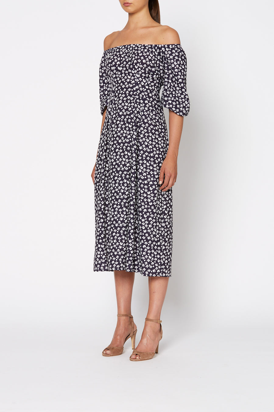Lolita Print Dress, mid-length dress, mid length sleeves, off the shoulder neckline, Color Navy