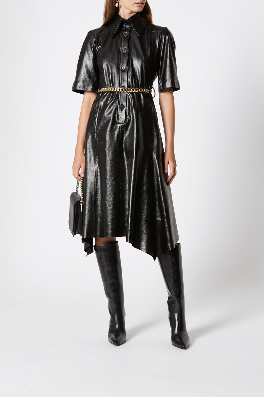 Leather Dress, 100% leather, loose fit ,includes a belt, has a collar, short sleeves and button fastenings through the front, Color Black