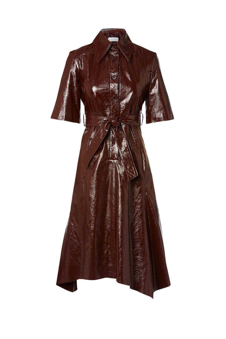 Leather Dress, 100% leather, loose fit ,includes a belt, has a collar, short sleeves and button fastenings through the front, Color Cocoa