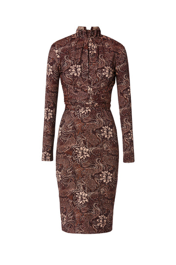 Jacquard Tie Front Dress, intended to fit close to body, high neckline with gathered detail, long sleeves, falls just below the knee, belt included, Color Bordeaux