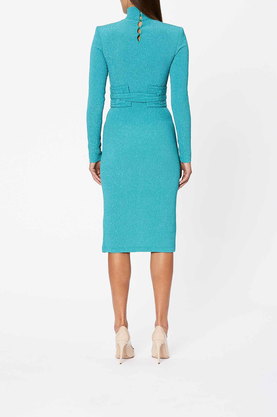 Stretch Reptile Dress, Turquoise Color, Slim Fit, Knee Length, Belt Included