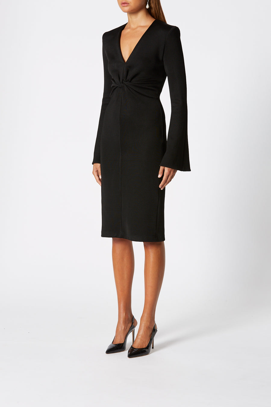 Long Sleeve Turban Twist Dress, structured v-neck style, cinches in at the waist, long sleeves, front twist detail, Color Black