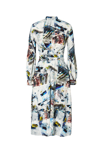 Silk Vertigo Dress, regular fit, high neckline, long sleeves, a belt in same fabric included, falls just below knee, Color Multi