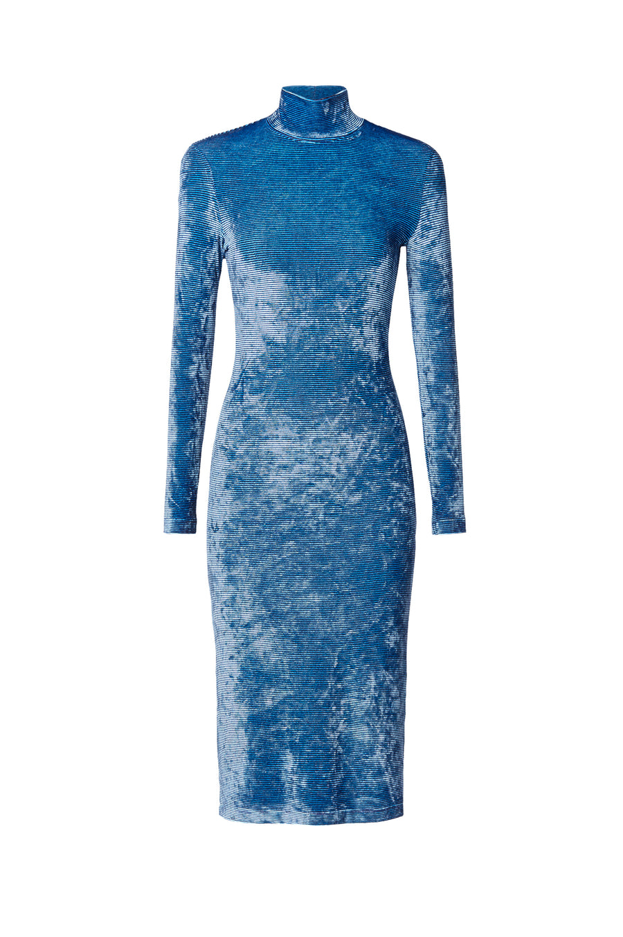 Stripe Velour Dress is a fitted stretch dress that falls just below the knee. It features a high neckline, long sleeves, shoulder pads to define the waist, Color Blue