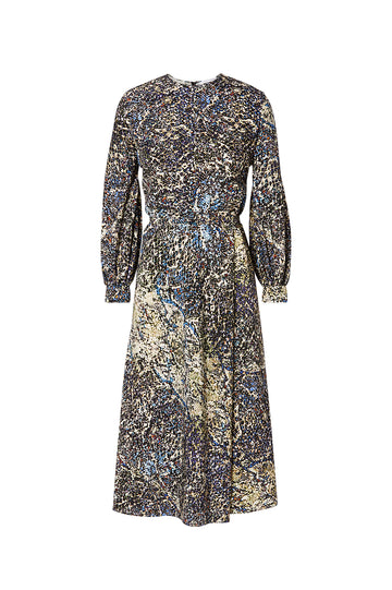Silk Snake Print Dress, fitted at the hip with a loosely cut top, balloon sleeves, wide waistband, high neckline, button fastenings on the back, Color Multi