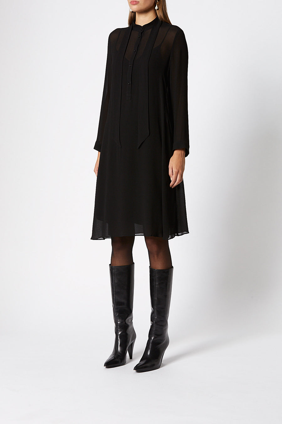 Memphis Dress, 100% silk, long sleeves, does up back with button fastening, short style worn above knee, Color Black