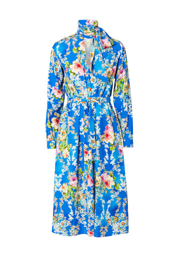 Silk Bouquet Print Dress, mid-length, Neck tie cravat with v-neckline, includes a belt in the same fabric, color Blue Floral