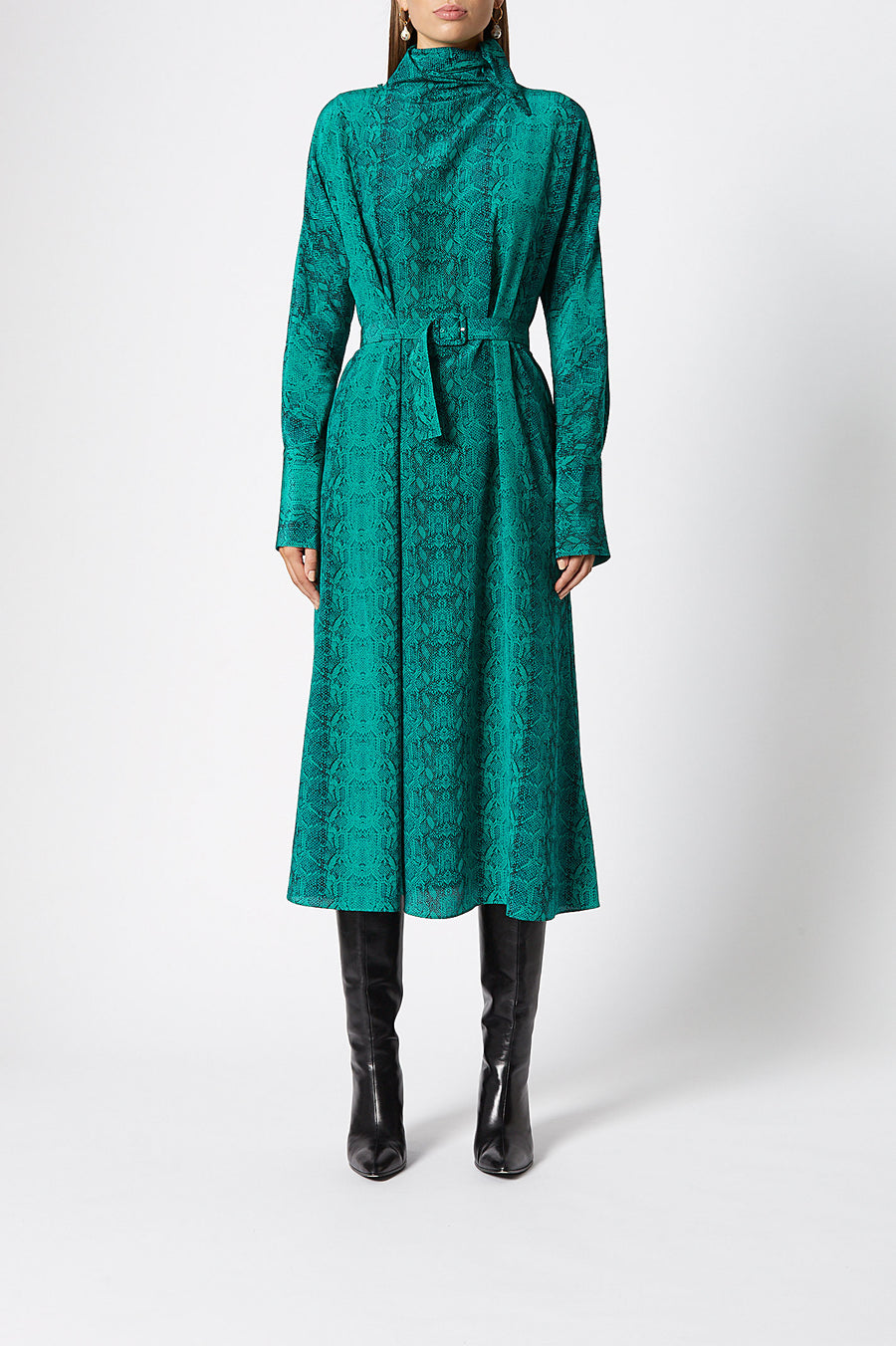 CDC Cravat Dress, tie neck, long sleeves, cinches in at waist, falls just below knees, 100% silk, color emerald