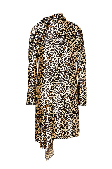 ANIMAL PRINT DRESS, long sleeve, falls mid thigh with side drape, tie front neck, color black