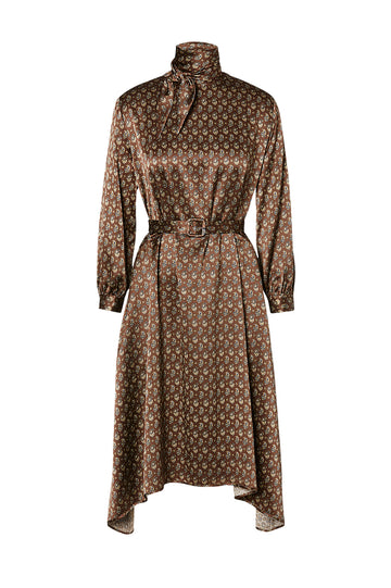 Satin Print Dress, mid-length dress, structured tie neck, long sleeves and a belt included, Color Tobacco