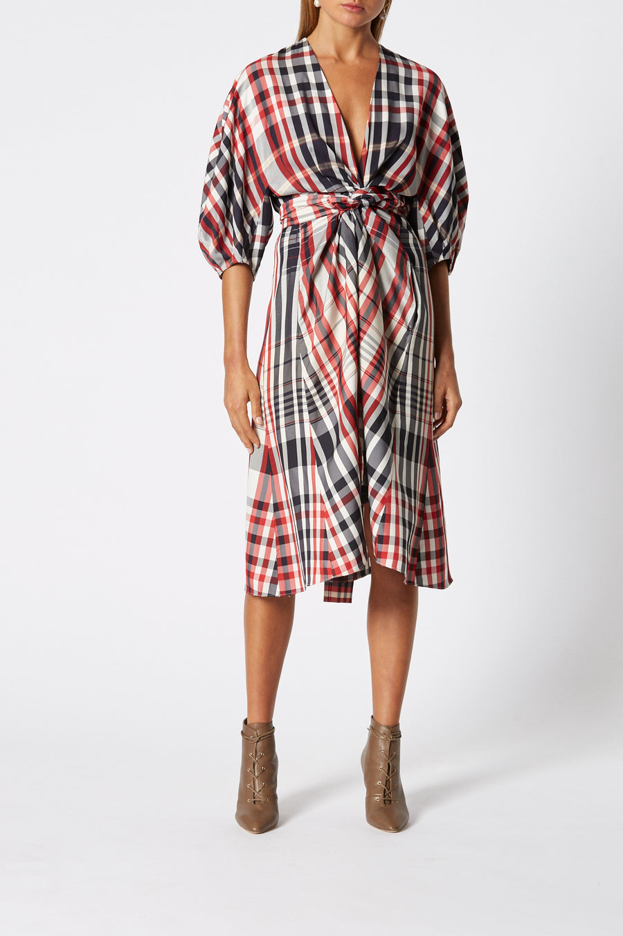 Plaid Cocoon Sleeve Dress, v neck, cocoon sleeves, waist belt, pencil skirt to below the knee, belt in same fabric is included, Color White Red