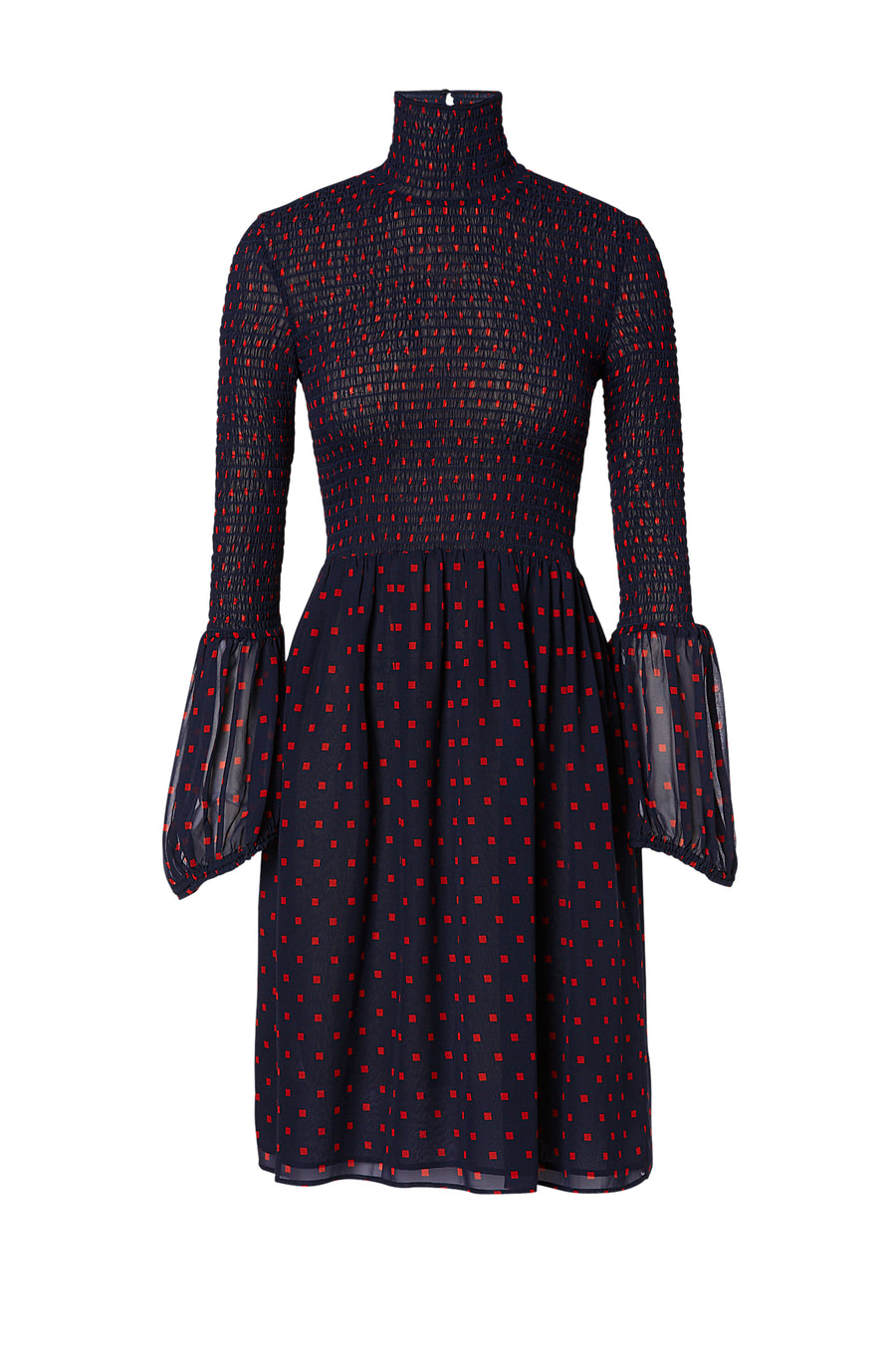 Silk Printed Shirred Dress, 100% silk with a spot print, high neck, peplum cuffs, elasticized slim fit at bust, full skirt from the hip to just above knee, color navy