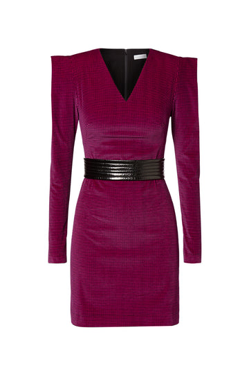 Houndstooth Velvet Dress, v-neck mini dress, over-sized shoulder pads, cinches in at the waist with belt, sold with belt, Color Fuschia