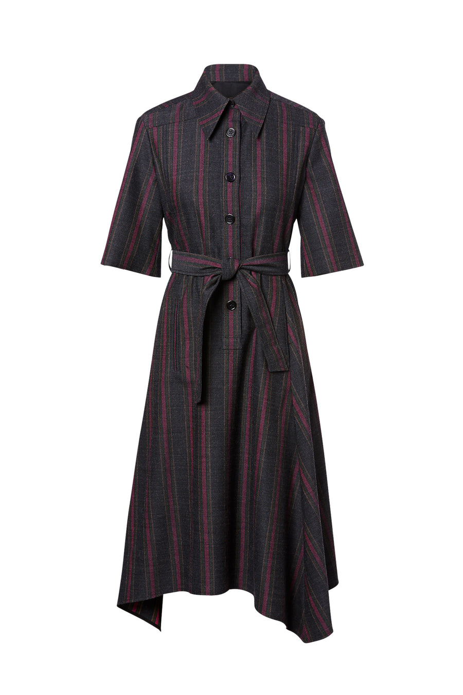 Tailored Stripe Dress, mid sleeves, button fastenings on front, pointed collar, belt (included), mid length, asymmetric hem, color charcoal