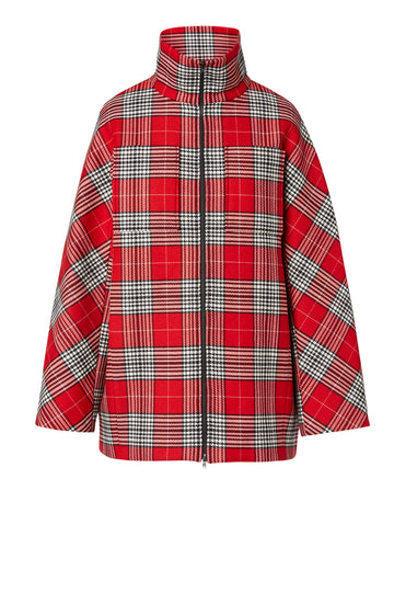 Plaid Cocoon Sleeve Jacket, oversized jacket, zip front, high collared neckline, Color Red