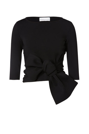 Crepe Knit Tie Sweater, Slim Fit, 3/4 length sleeve, large tie detail that can be work at the front or back. Color Black