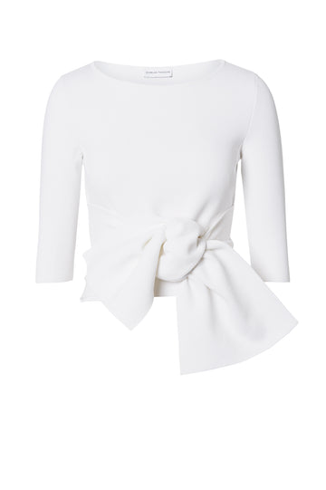 Crepe Knit Tie Sweater, Slim Fit, 3/4 length sleeve, large tie detail that can be work at the front or back. Color White