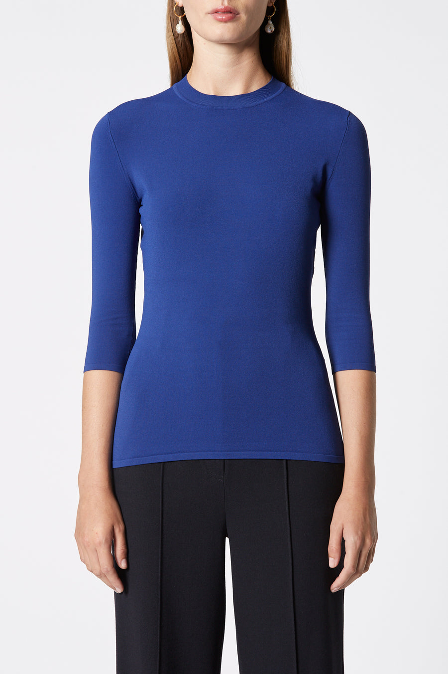 ANGEL CREW NECK SWEATER, crew neck, 3 quarter sleeve, Color Cobalt