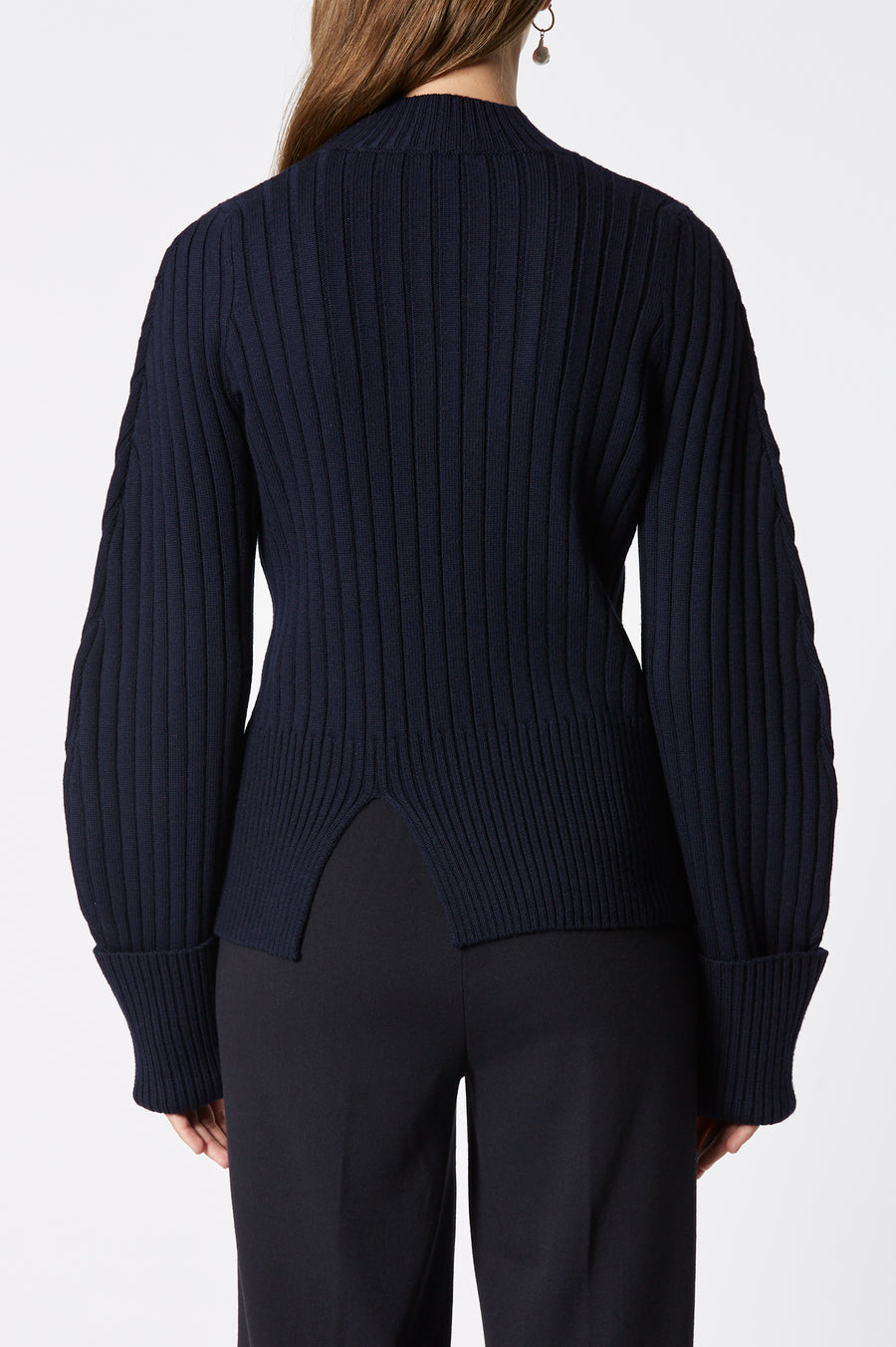 Merino Rib Sweater, high neck, front slide slit, oversized ribbed cuffs, Color Navy