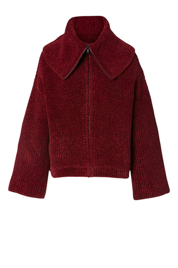Velvet Rib Bomber, slightly loose fit, oversized pointed collar, or high neck and long zipper pull at front, Color Burgundy