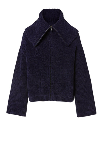 Velvet Rib Bomber, slightly loose fit, oversized pointed collar, or high neck and long zipper pull at front, Color Navy