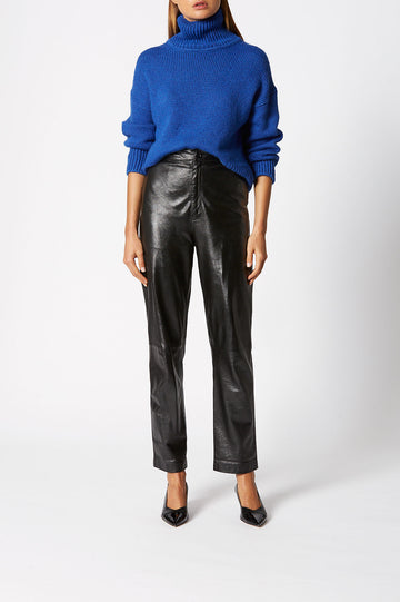 Turtleneck Sweater, designed for a loose fit, ribbed turtleneck alongside ribbed hem and cuffs, Color Cobalt