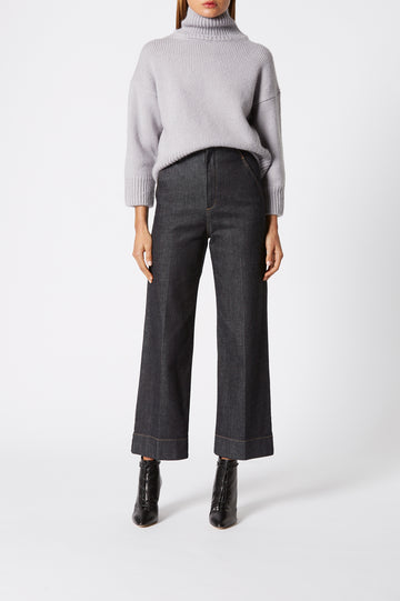 Turtleneck Sweater, designed for a loose fit, ribbed turtleneck alongside ribbed hem and cuffs, Color Grey