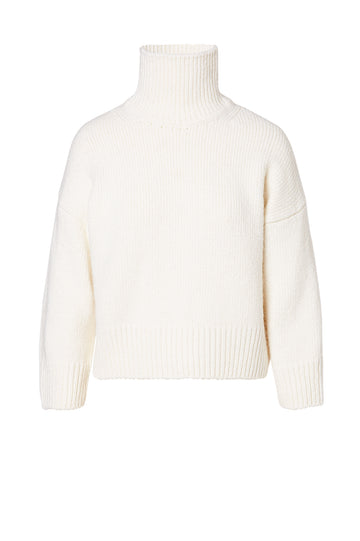Turtleneck Sweater, designed for a loose fit, ribbed turtleneck alongside ribbed hem and cuffs, Color White