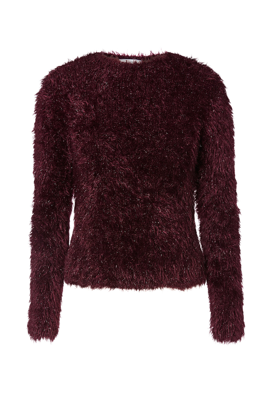 Tinsel Velvet Sweater, crew neck, slips on over the head, Color Burgundy