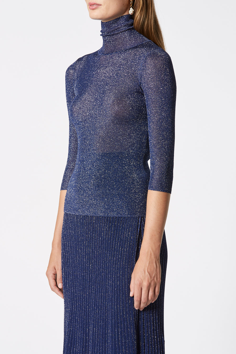 Sparkle Rib Sweater, High Neck, 3/4 Sleeve, Fitted on body, Color Navy