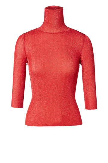 Sparkle Rib Sweater, High Neck, 3/4 Sleeve, Fitted on body, Color Red