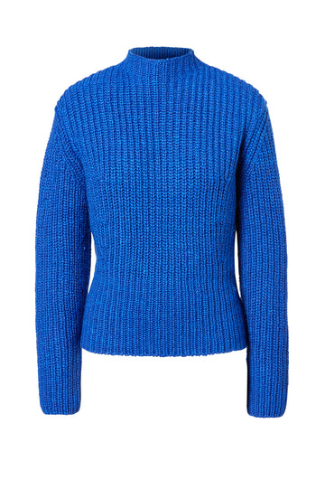 Cropped Rib Sweater, rib-knitted, slim fit, turtleneck silhouette, Color Cobalt