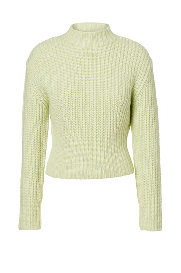 Cropped Rib Sweater, rib-knitted, slim fit, turtleneck silhouette, Color Mint
