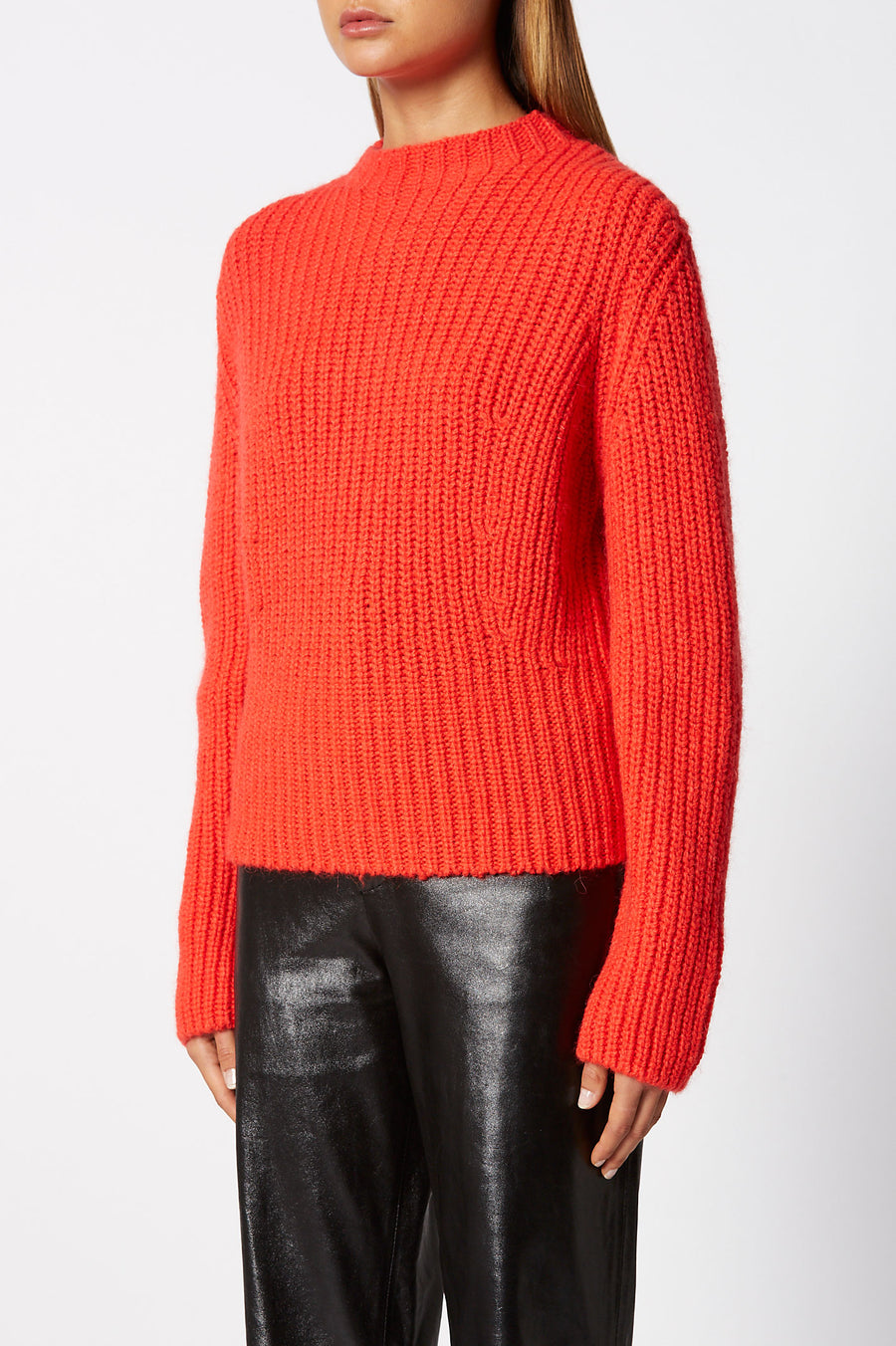 Cropped Rib Sweater, rib-knitted, slim fit, turtleneck silhouette, Color Tangerine