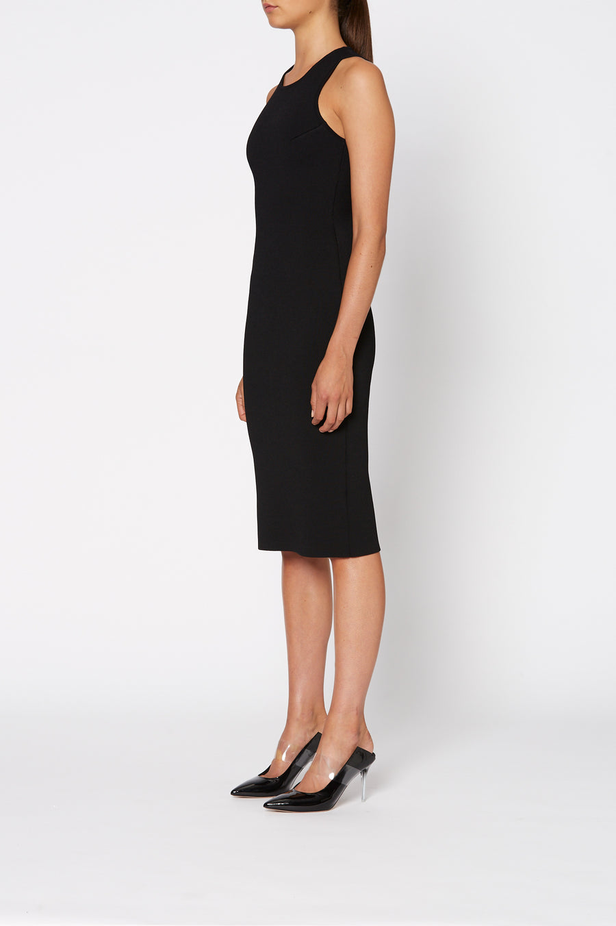 Crepe Knit Scuba Dress, short sleeve, crew neck, fits and flatters each individual's silhouette, color Black