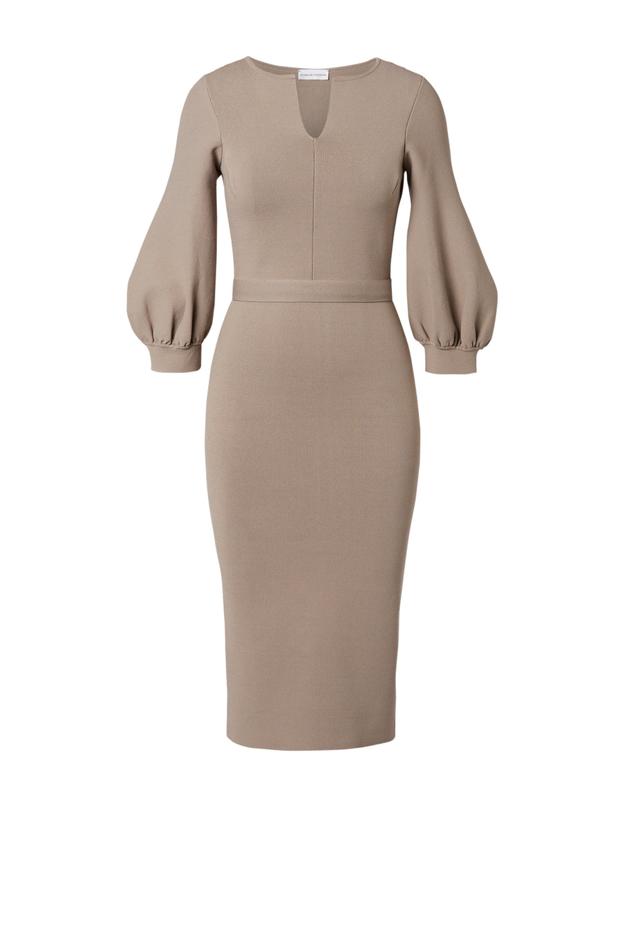 CREPE KNIT COCOON SLV DRESS CLAY
