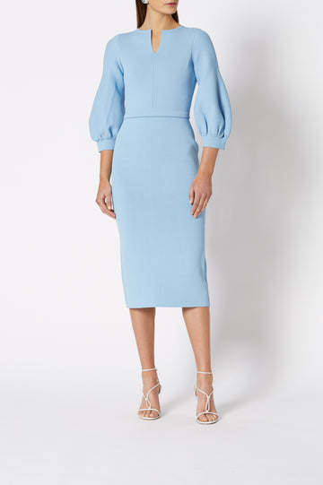 CREPE KNIT COCOON SLV DRESS MISTY BLUE