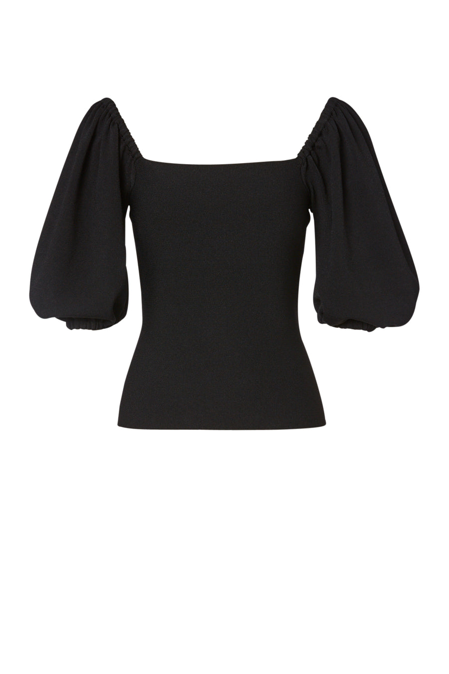 Crepe Knit Coupe Top, tailored top with a square neckline, cocoon sleeves, Color Black